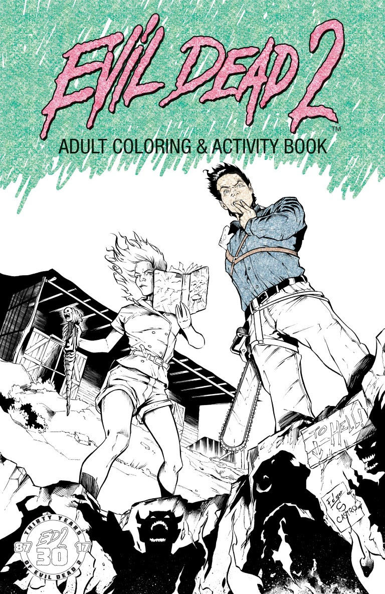 The coloring book of the dead - Evil Dead 2 Adult Coloring Activity Book Cover Art Preview Pages From Space Goat Productions