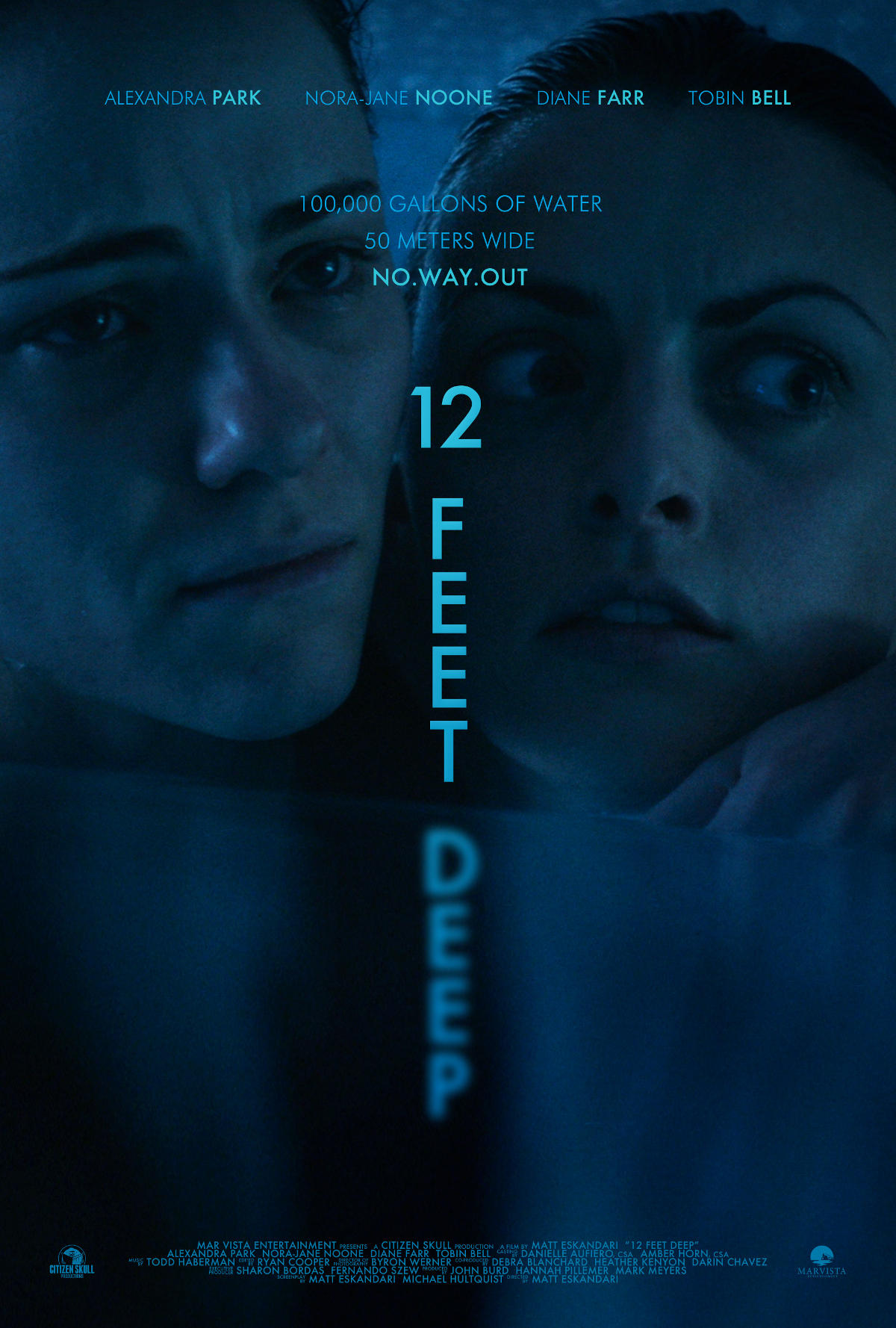 Below, we have the official trailer for 12 Feet Deep, as well as two alternate posters for the film and several behind-the-scenes images.