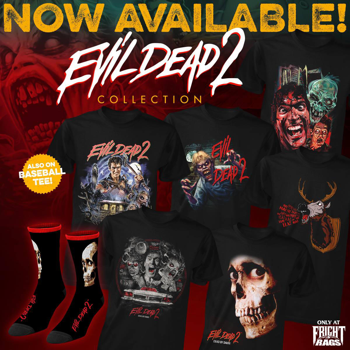357cf8c63a0 Fright Rags Unleashes Groovy New EVIL DEAD 2 Shirts   Socks ...